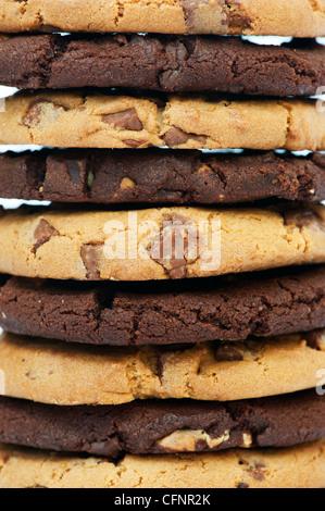 Dark and light chocolate chip cookies - Stock Photo
