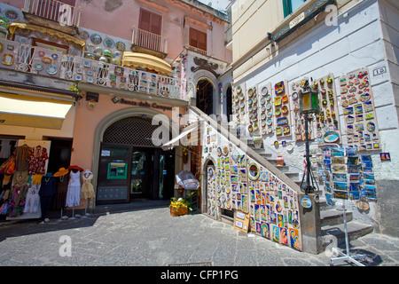 Souvenir shop at Piazza Flavio Gioia, village Amalfi, Amalfi coast, Unesco World Heritage site, Campania, Italy, - Stock Photo