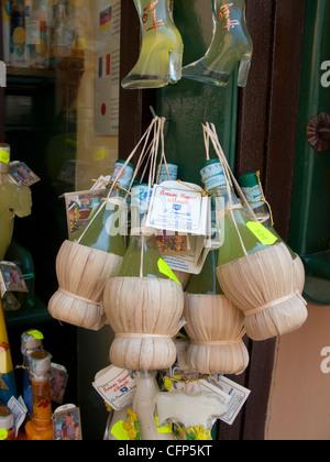 Lemon liqueur shop at the Piazza Flavio Gioia, village Amalfi, Amalfi coast, Unesco World Heritage site, Campania, - Stock Photo