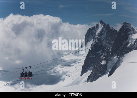 The cable car, Chamonix, Haute Savoie, French Alps, France, Europe - Stock Photo
