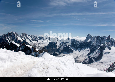 Aiguille du Midi, view of the Mont Blanc Massif, Chamonix, Haute Savoie, French Alps, France, Europe - Stock Photo