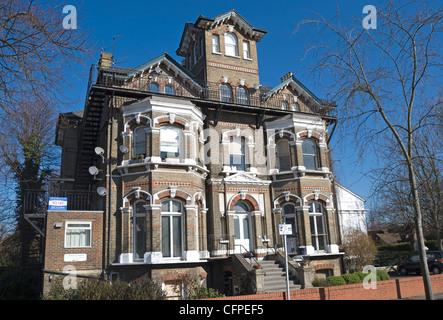 19th century victorian gothic architecture at a pedestrian zone near