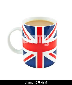 Tea in a  union jack mug - Stock Photo