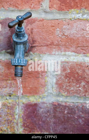 Running water coming from an outside garden water tap. UK - Stock Photo