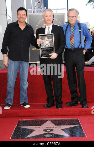 Seth MacFarlane, Bill Maher and Larry King Bill Maher receives the 2,417th star on the Hollywood Walk of Fame Los - Stock Photo