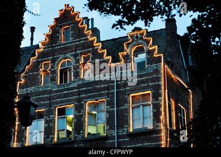 Belgium, Antwerp, Restaurant Enlightened, Twilight - Stock Photo