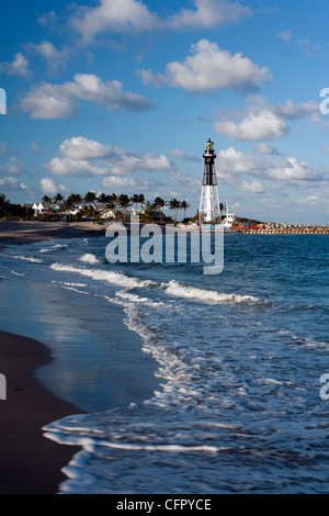 Hillsboro Inlet Lighthouse - Pompano Beach, Florida USA - Stock Photo