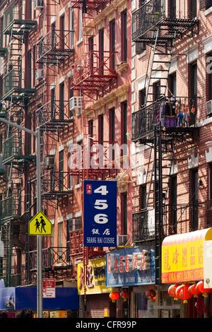 Street scene in China Town, Manhattan, New York City, New York, United States of America, North America - Stock Photo