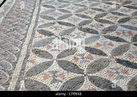 ancient Roman mosaic archaeological National Museum of Archaelogy, Grumento, Basilicata, Italy - Stock Photo