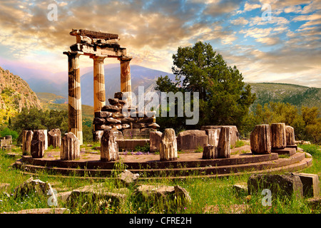 The Tholos at the sanctuary of Athena Pronaia,  a circular building with Doric columns 380 BC . Delphi Greece - Stock Photo
