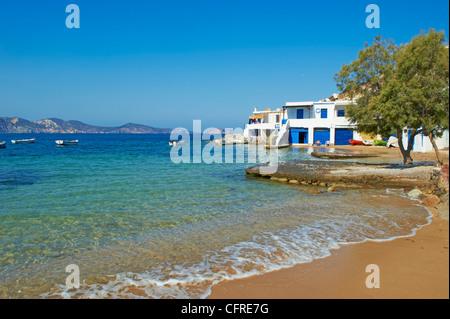 Aegean Sea outside beach boats bay rock cliff holidays ...