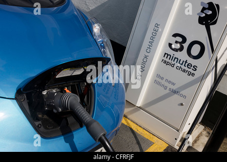 Fast charging a Nissan Leaf electric car at an electrical ...