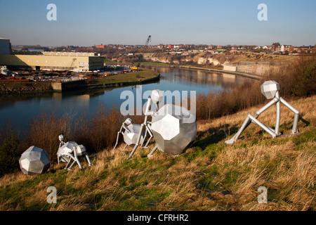 Modern Sculpture near The Stadium of Light Sunderland England - Stock Photo