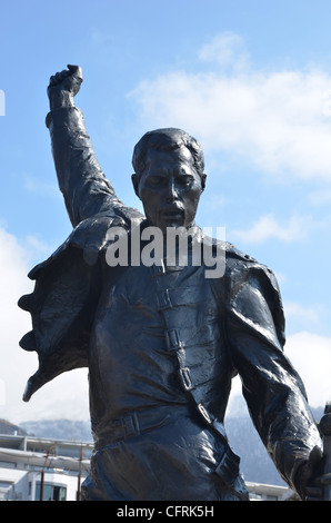 Bronze statue erected in honour of the world famous singer song writer for Queen, Freddie Mercury, at Montreux, - Stock Photo