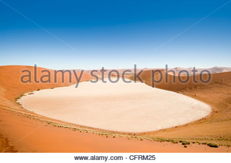 The Dead Vlei, from the 'Big Daddy' sand dune, Namib-Naukluft Park, Namibia - Stock Photo