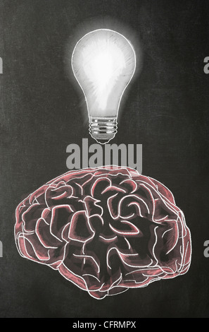 Illustration in chalk of a human brain with a light bulb above it on a blackboard - Stock Photo