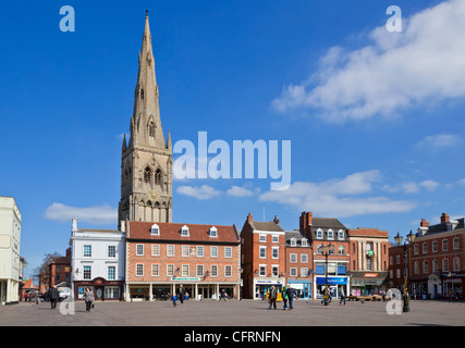 Spire of Church of St. Mary Magadalene Newark-on-Trent Nottinghamshire UK GB EU Europe - Stock Photo