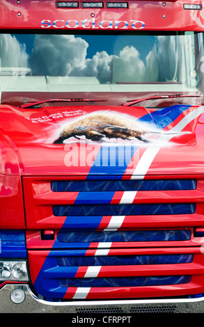 Close up of the front of an articulated lorry - Stock Photo