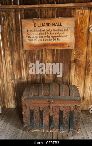 North America, USA, Texas, Langtry Judge Roy Beans Billiard Hall, informational sign. PLEASE CALL FOR SUPER-HI-RES - Stock Photo