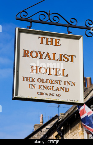 The Royalist Hotel sign, Stow on the Wold. - Stock Photo