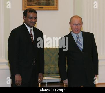 Moscow. Russian President Vladimir Putin met Bharrat Jagdeo(l)- President of the Republic of Guyana. - Stock Photo