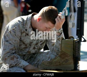 HLmarineMemorial268584x003.jpg 2/15/2007 CAMP PENDLETON (San Diego County, California) USA_ U. S. Marine Corps Cpl. - Stock Photo