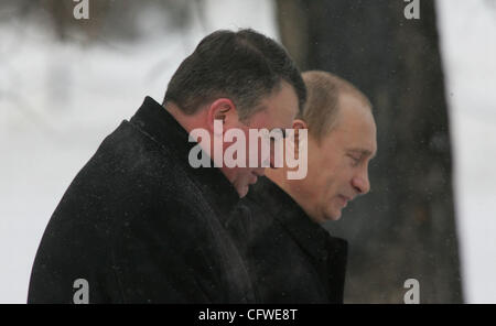 Vladimir Putin and newly appointed Defence Minister of Russia Anatoli Serdyukov (l). - Stock Photo
