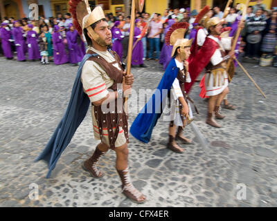 In observance of  Lent in Antigua (La Antigua)  Guatemala, the Catholic celebrations leading to Holy Week, images - Stock Photo