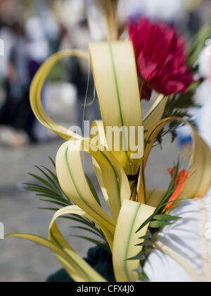 Antigua, Guatemala: Decorations dress up the twon during the observance of  Lent, before Easter.3 - Stock Photo