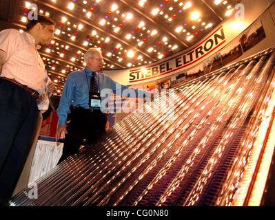 Jul 09, 2007 - Cleveland, OH, USA - DAVID CLARK (rt) of Stiebel Eltron Corporation, explains the design of an ultra - Stock Photo