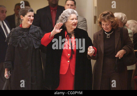 METRO   ---   Lady Bird Johnson, center, waves to the audience Wednesday Dec. 11, 2002 at the LBJ Library in Austin - Stock Photo