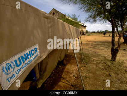 Jul 13, 2007 - IDP Camp, Southern Sudan - UNHCR (United Nations High Commissioner for Refugees) still has a presence - Stock Photo