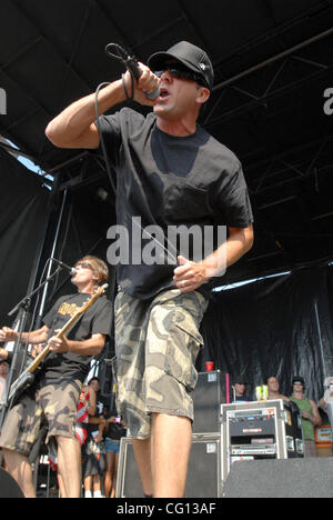 Jul. 23, 2007; Charlotte, NC USA; Singer JIM LINDBERG of the band PENNYWISE performs live as part of the 13th annual - Stock Photo