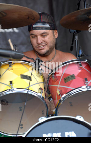 Jul. 23, 2007; Charlotte, NC USA; Drummer YESOD WILLIAMS of the band Pepper performs live as part of the 13th annual - Stock Photo