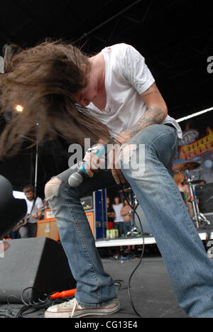 Jul. 23, 2007; Charlotte, NC USA; Singer SPENCER CHAMBERLAIN of the band Underoath performs live as part of the - Stock Photo