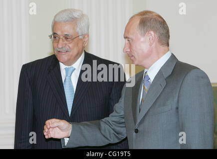 July 31, 2007. Mahmoud Abbas (left), President of the Palestinian National Authority (PNA) and Russian President - Stock Photo