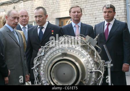 Vladimir Putin Visiting The Klimov Aircraft Engine Factory in St.Petersburg. (l-r)President Vladimir Putin and Director - Stock Photo