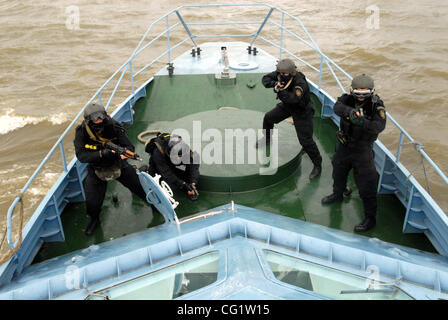 Combat training of russian coast guards and special FSB - Federal Security Service (KGB)unit forces. On the picture - Stock Photo