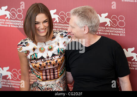 Sept. 2, 2011 - Venice, Italy - Actress KEIRA KNIGHTLEY and director DAVID CRONENBERG the photocall for 'A Dangerous - Stock Photo