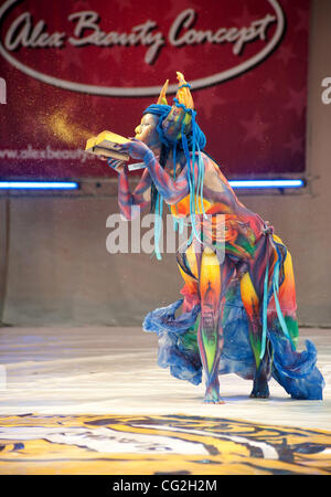 September 17,2011. St.Petersburg,Russia. Pictured: Body Art Festival in St.Petersburg. - Stock Photo