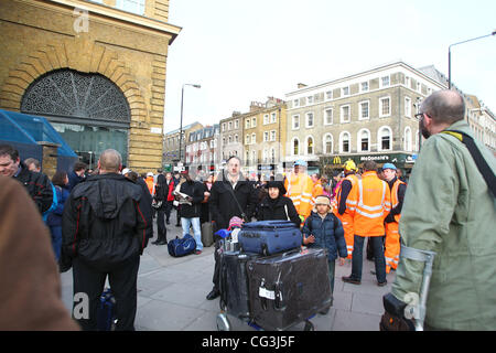 King's Cross station is evacuated after a security alert at around 3pm GMT on 10 Jan 2010 London, England - 10.01.11 - Stock Photo
