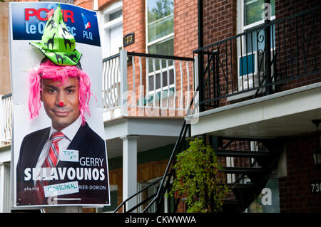 23rd Aug 2012. This candidate from the Liberal Party of Quebec got transformed overnight - people living in the - Stock Photo
