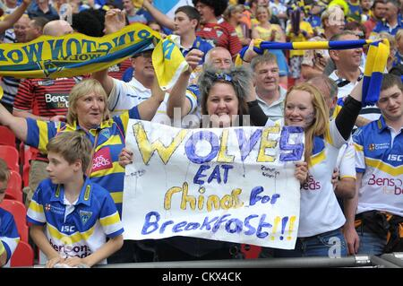25th Aug 2012. London, England.  A Warrington fan enjoying victory during the Carnegie Challenge Cup Final between - Stock Photo