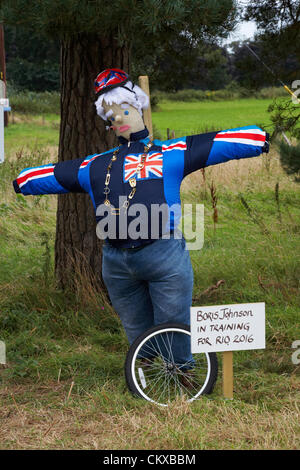 Bisterne, New Forest National Park, Hampshire, UK Monday 27 August 2012. Bisterne Scarecrow Festival 2012. Boris - Stock Photo