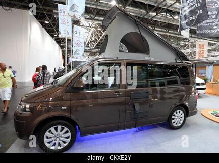 August 27, 2012 in Dusseldorf, Germany. Volkswagen camper van at the Caravan Salon Exhibition 2012. - Stock Photo