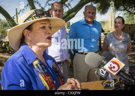 Aug. 29, 2012 - Paradise Valley, Arizona, U.S - JOANNE GOLDWATER, left, endorses Dr. RICHARD CARMONA, (center) Democratic - Stock Photo