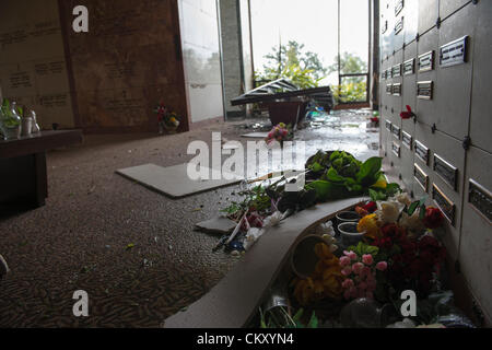Hurricane Isaac's winds smashed through stained glass windows at the All Saints Mausoleum at Lakelawn Metairie Memorial - Stock Photo