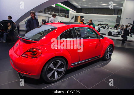MOSCOW, RUSSIA - August 31: Moscow International Automobile Salon 2012. Volkswagen new Beetle - russian premiere - Stock Photo