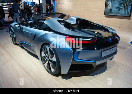 MOSCOW, RUSSIA - August 31: Moscow International Automobile Salon 2012. BMW  i8 Spyder Concept - European premiere - Stock Photo