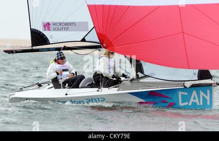 London 2012 Paralympics: Sailing Scud 18 class race Joh McRoberts and Stacie Louttit of Canada 01st September, 2012 - Stock Photo